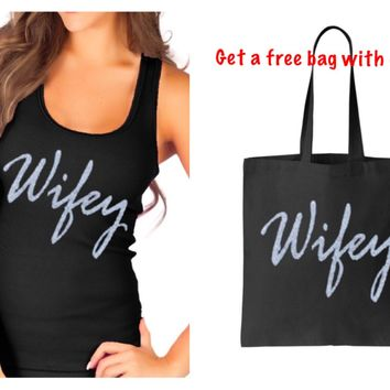 Silver Gold or your choice Glitter Wifey Black Tank Top & Free Matching Tote Bag S M L XL Plus Size 1x 2x 3x 4x 5x