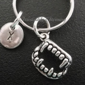 Vampire fangs keyring, keychain, bag charm, purse charm, monogram personalized custom gifts under 10 item No.527