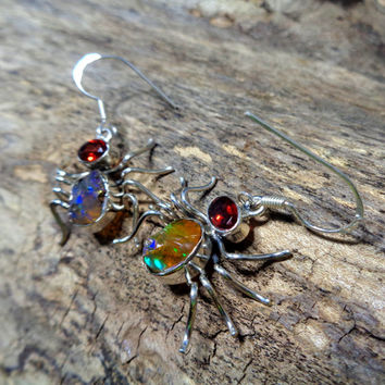 925 sterling silver, genuine, raw, colorful Ethiopian opal rough and faceted red garnet spider, dangle earrings. international postage *640*