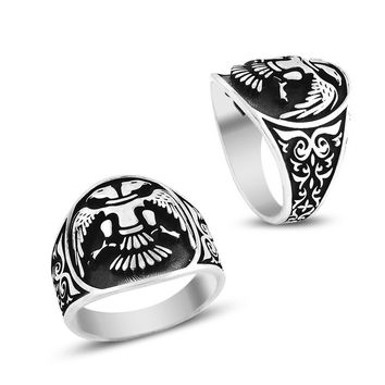 Double headed eagle band silver mens ring