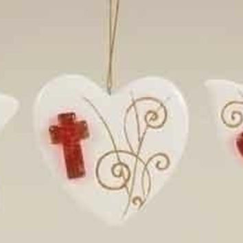 9 Christmas Ornaments - Heart, Star And Dove
