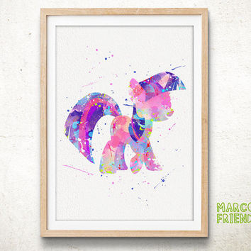 Little Pony Twilight Sparkle - Watercolor Art Print, Room Decor, My Little Pony Poster, Home Baby Nursery Wall Art
