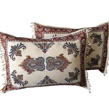 "pair of traditional lumbar pillow, bed pillow cover, floral design 20""x28"""