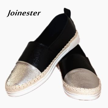Spring/Autumn Round Toe Slip-on Casual Shoe Flat Heeled Medium Size PU Leather Women Loafers Rubber Sole Leisure Espadrilles
