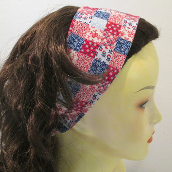 Quilt Squares Headband Reversible Wrap Around Wide Fabric Headband