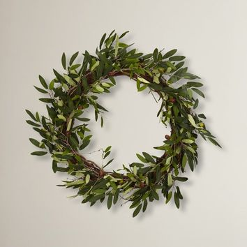 "20"" Faux Olive Branch Wreath"