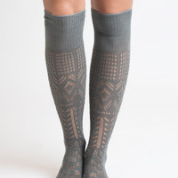 Thigh High Grey Boot Socks