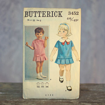 Vintage Girl's Dress Sewing Pattern Butterick 3452 1960's Low Waisted Dress with box pleat skirt and peter pan collar 1960's Size 3 Party