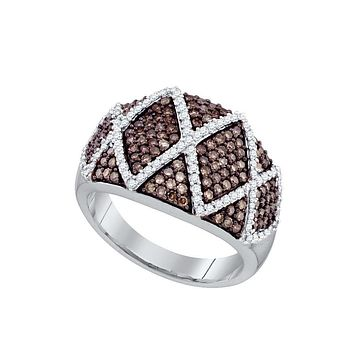 10k White Gold Womens Cognac-brown Diamond Wide Striped Cocktail Band Ring 1.00 Cttw