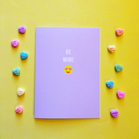 Emoji Valentine's Day Card - Be Mine - Cute Fun Modern Funny - 5x7