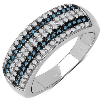 0.52 Carat Genuine Blue Diamond & White Diamond .925 Sterling Silver Ring