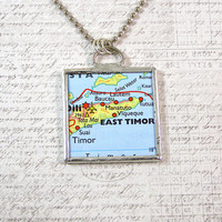 East Timor Map Double Sided Pendant Necklace