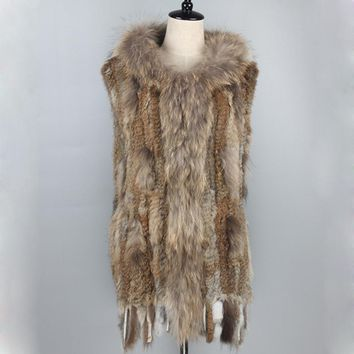 020101B knitted real rabbit fur vest winter coat racccoon fur collar and Placket sleeveless waistcoat women dress B0117