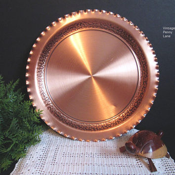 Large Vintage Solid Copper Round Tray by FANTASY, Non Tarnishable, Copperware