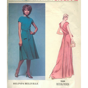 Vintage Vogue Designer Original 1584 Sewing Pattern 1970s Belinda Bellville Wrap Dress Evening Gown Low Back Bust 34 Uncut