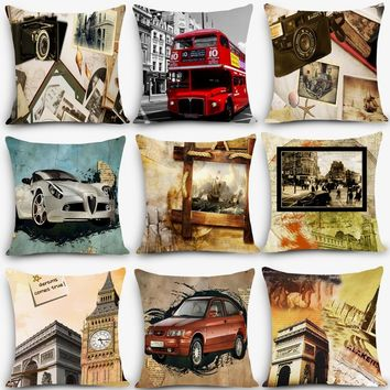 Cheap cushions scenic Paris london Print Home Decorative Cushion Throw Pillow Vintage Cotton Linen Square Pillows MYJ-D1