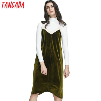 Tangada Fashion 2016 Women Velvet Knee-Length Dress Green Vintage Adjustable Spaghetti Strap Backless Casual Brand Dresses XIC77