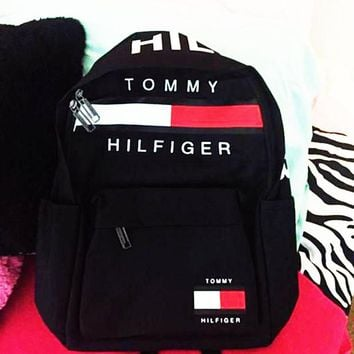TOMMY HILFIGER: Fashion Women Men Travel package Schoolbag Bag Backpack For Boy With Girl Black