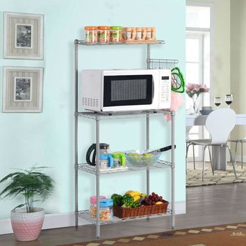 Metal Kitchen Utility Microwave Cart Bakers Rack