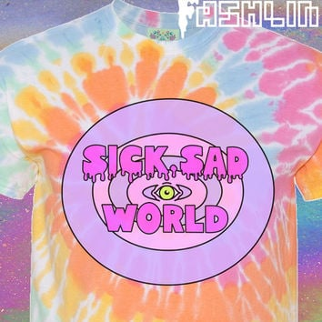 UNISEX Sick Sad World MTV 90s Daria Kawaii Pastel Tie-Dye T-Shirt // Pastel Grunge // Vaporwave Aesthetic // Seapunk // fASHLIN