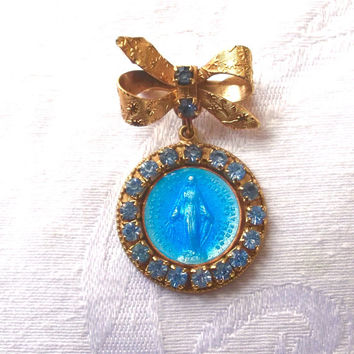 Vintage Virgin Mary Brooch, Rhinestone Enamel Religious Pin, Blessed Mother, Religious Jewelry