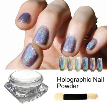 Saviland 1 Box Holographic Laser Sliver Color Glitter Powder for Uv Nail Gel Polish Shinny Rainbow Holo Dust Chrome Pigments