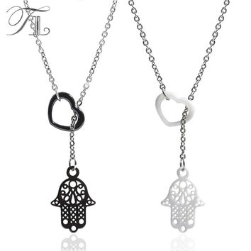 TL Fatima Hand Chain Necklace Black&White Ceramic Necklace For Women Love Heart Pendant Necklace Made with Stainless Steel Chain