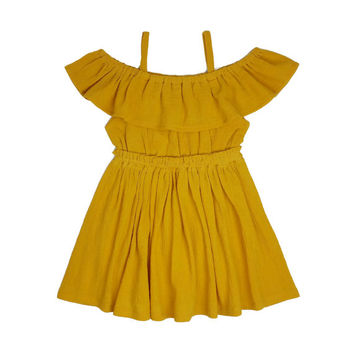 Women's (XS-XXXL) Mustard Yellow Off The Shoulder Ruffle Dress. Mommy and Me Dress. Daughter. Spring Summer