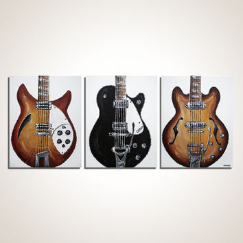 Beatles Art The Beatles' Guitar  Music Art Gift for musician Original modern painting on canvas by Magier- SALE