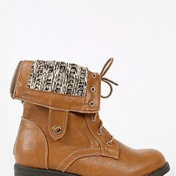 DASON-03-10-4 Sweater Fold Over Combat Boots Women Boots CAMEL Bare Feet Shoes