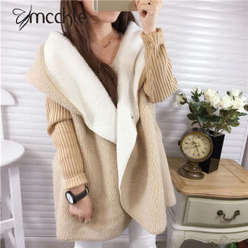Women's Long Hooded lambswool Pacthwork Loose Oversize Cardigans 2016 Autumn Winter Fashion Women Knitted Outwear Coat