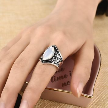 STYLEDOME Vintage Silver Big Stone Ring for Women