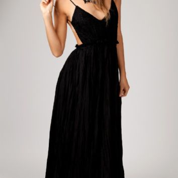 Black Lovely Crochet Lace Open Back Maxi Dress