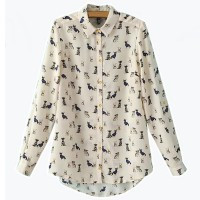 Women Lady Blouse Shirt Dog Pattern Chiffon Autumn Beige US S Fashion New - Default