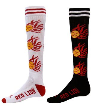 FLAMING SOFTBALL Knit-in Design Athletic Socks