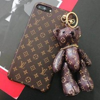 LV Louis Vuitton Gucci Trending Unisex Hot Sale Lovely Bear Mobile Phone Shell iPhone Phone Cover Case For iphone X iphone 8 8plus iPhone6 6s 6plus 6s-plus iPhone 7 7plus I