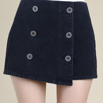 Asymmetrical Skort With Back Zipper And Buttons (8IP0598RB)