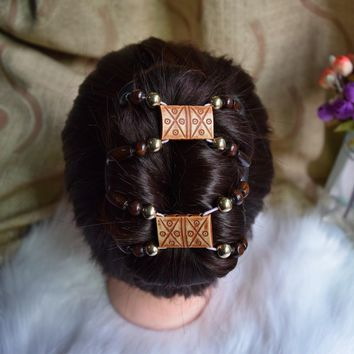 african classical  beads comb with  20 pcs / lot Magic Strecthy Hair Combs Double Clips  Combs Hair  Hairpins  classical lady