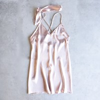 reverse - choker slip dress - light pink