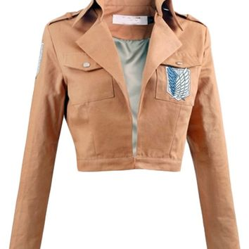 Cool Attack on Titan Japanese Anime  Cosplay No  Cosplay Jacket Brown Coat Adult Women Man Halloween Cosplay AT_90_11