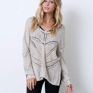 Open Mind Sweater Top - Beige