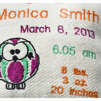 Owl Personalised birth Announcement Pillow, New Baby Pillow , New born Pillow Custom embroidery ,Owl Baby Pillow