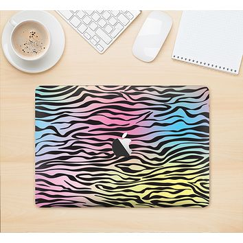 "The Rainbow Colored Vector Black Zebra Print Skin Kit for the 12"" Apple MacBook"