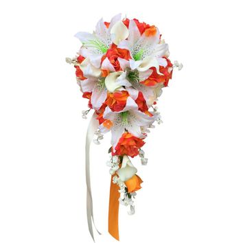 Cascade Bouquet - Orange and Off-White - Roses, lilies, and calla lily artificial flowers