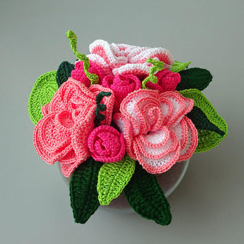 Camellias and roses flower arrangement, flower bouquet in crochet, table centerpiece, memorial keepsake