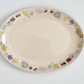 Vintage Franciscan Woodlore Platter, Mushroom Pattern, Large Serving Platter