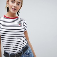New Look Stripe Heart Tee at asos.com
