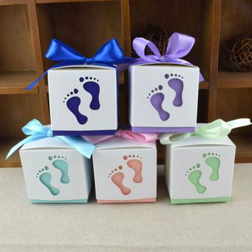 10pcs/set Baby Foot Candy Box Baby Shower Sweet Bag Footprints On The Beach Favour Free Ribbon Gift Box Baptism Candy Container
