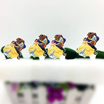 10PCS/LOT BEAUTY AND BEAST PAPER CAKE TOPPERS PICKER BIRTHDAY PARTY CAKE DECORATION BEAUTY CAKE FLAG PICKER BEAUTY BEAST TOPPERS