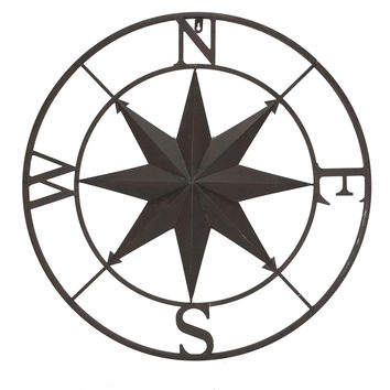 Metal Wall Art Rose Compass - 26-in